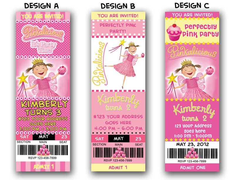 Pinkalicious Party Invitation Ticket 1000 via Etsy – Pinkalicious Party Invitations