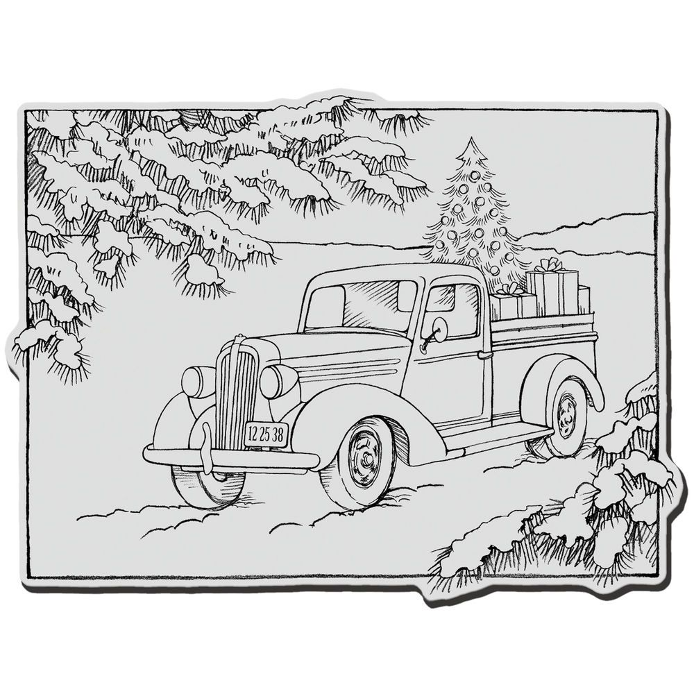 Stampendous Christmas Cling Rubber Stamp 4 X6 Sheet Truck Of Gifts Christmas Coloring Pages Coloring Pages Truck Coloring Pages