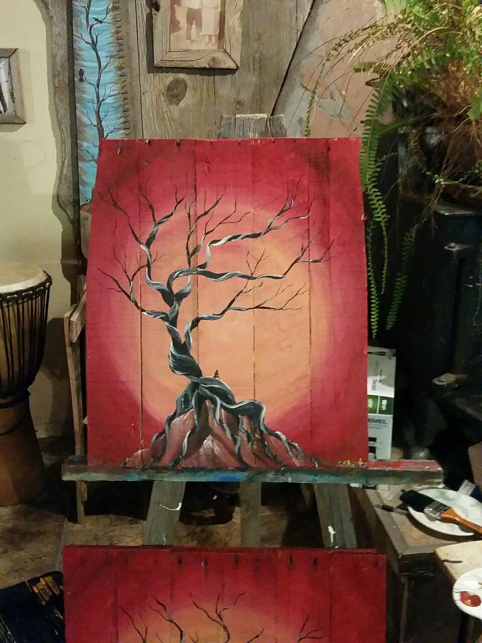 Dead Cedar Tree With Girl And Sunset On Pallet Wood Art By Stacie Sheets