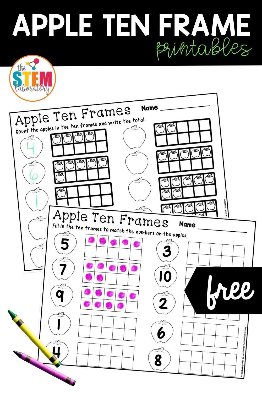 Apple Ten Frames The Stem Laboratory In 2020 First Grade Lessons Fun Math Centers Ten Frames
