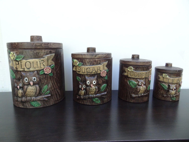 Vintage Treasure Craft Owl Canisters   Set Of 4