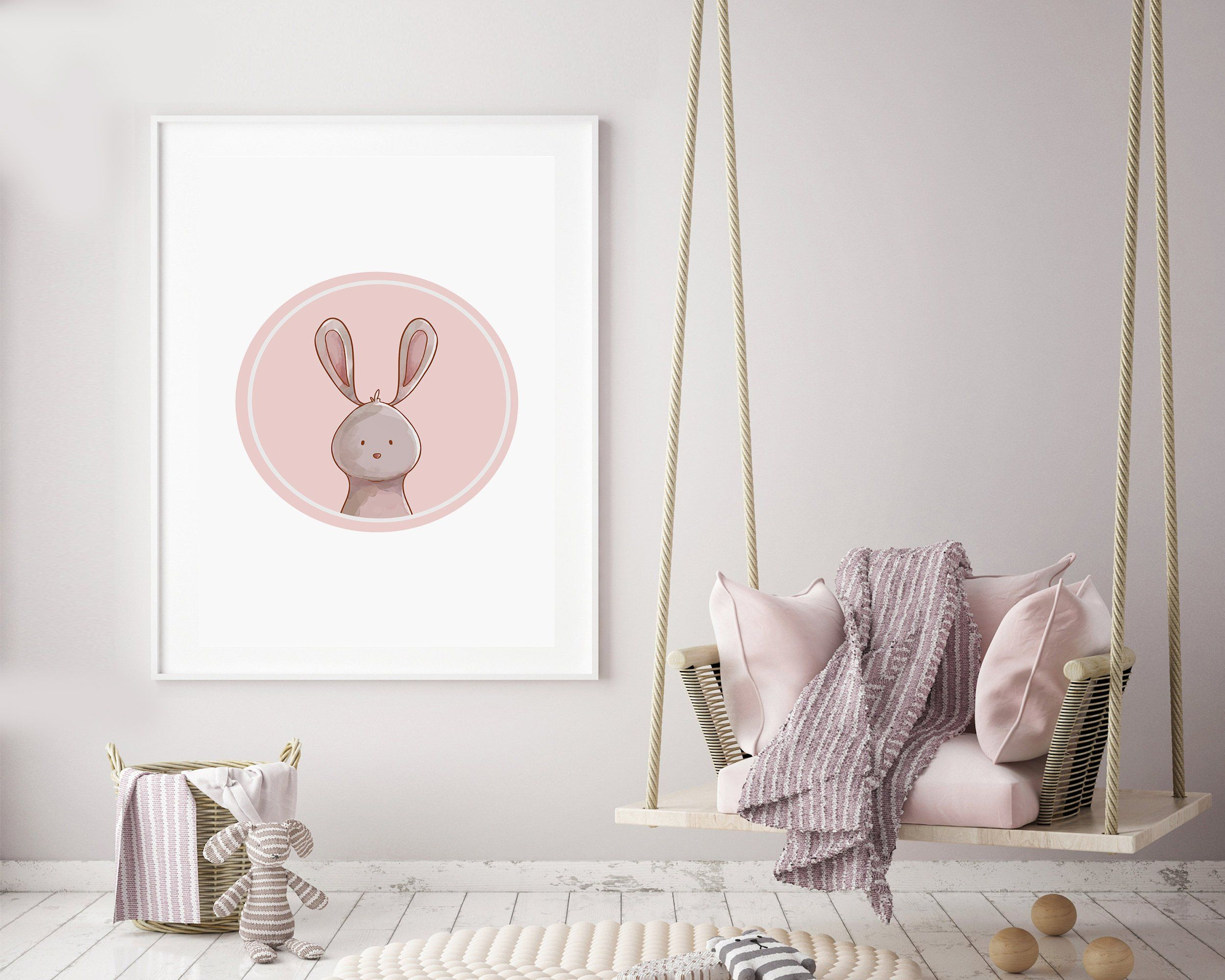 Rabbit Wall Art - Pink Rabbit Print - Nursery Print