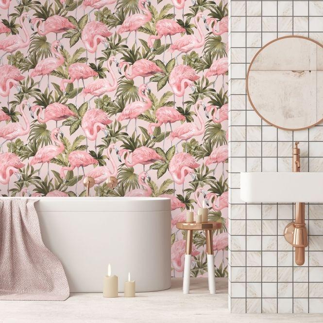 Flamingo Wallpaper Blush Pink in 2019 Flamingo wallpaper