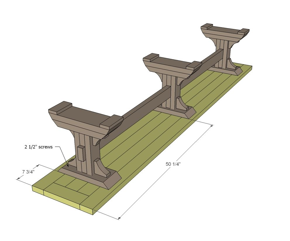 Ana White   Build a Triple Pedestal Farmhouse Bench   Free ...