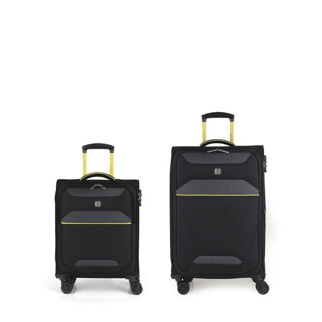 Juego de 2 maletas (cabina y mediana) Giro rígidas en color negro con capacidad de 103 L