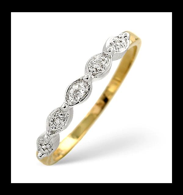 Half Eternity Ring 0.02CT Diamond 9K Yellow Gold in 2020