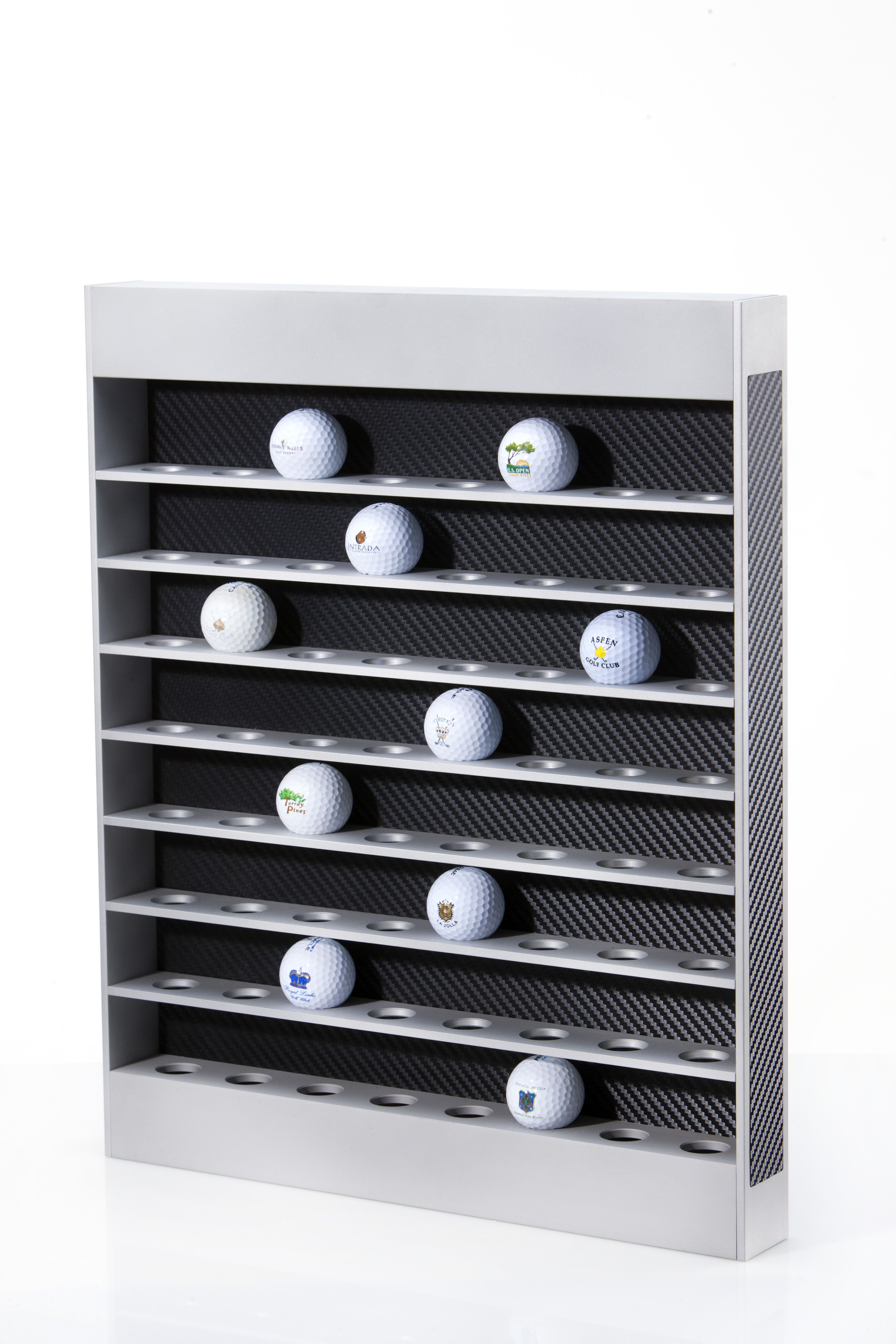 Logo Golf Ball Display 64 Balls Anodized Aluminum With