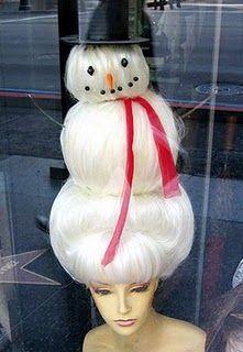 Creative Christmas Haircut With White Snowman Hair For Women In Christmas Eve Christmas Hair Christmas Sweater Party Christmas Sweaters