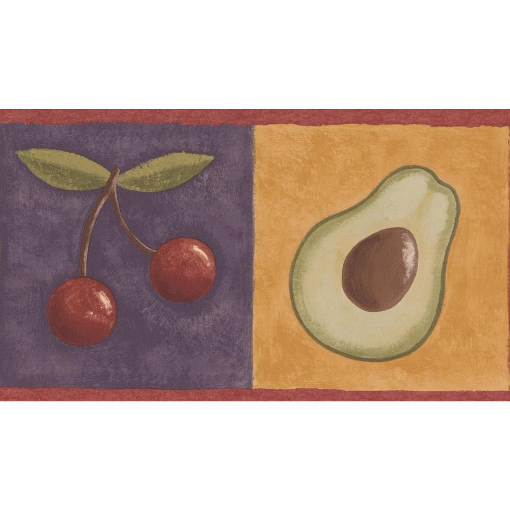 Retro Art Lemon Cherry Avocado Grapes on Colorful Squares