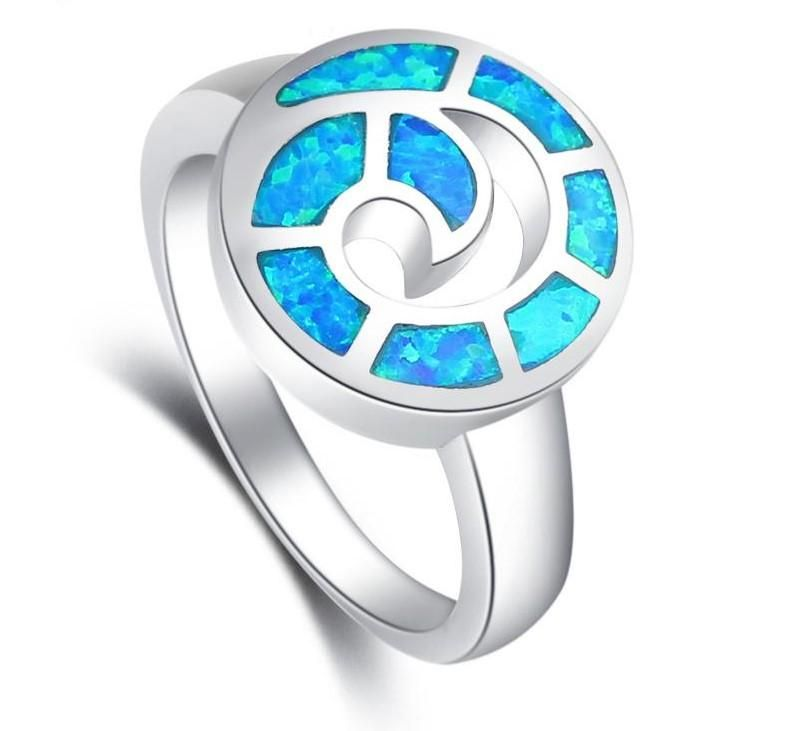 Swirl Design Blue Opal Fashion .925 Sterling Silver Ring Sizes 5-10