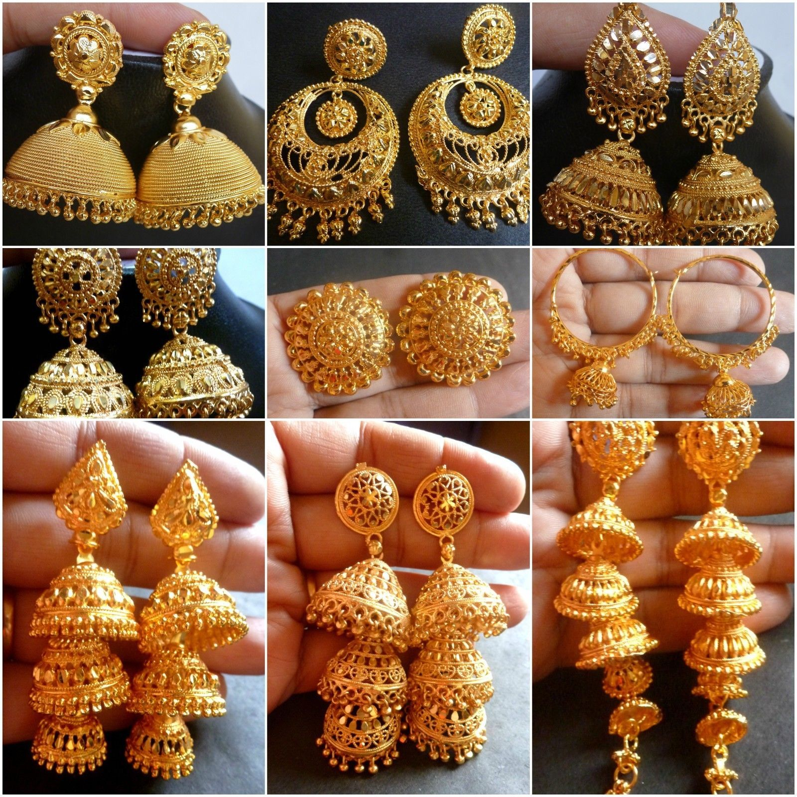 Costume Jewellery Objective Indian Ethnic Gold Tone Pearl Beads Chand Bali Earring Wedding Jewelry Beautiful And Charming