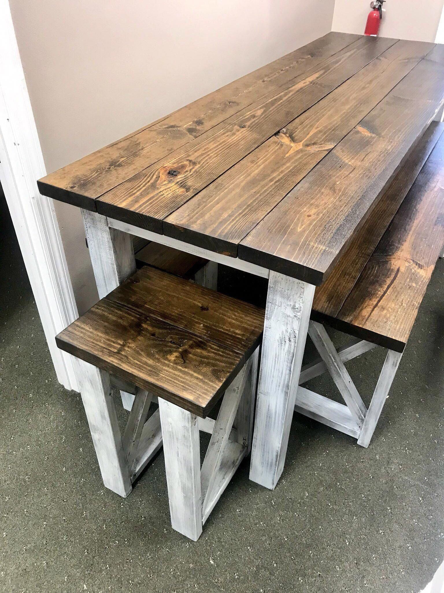 Long Pub Style Farmhouse Table Set With Stools And Tall Benches Dark Walnut Top With White Distressed Base Tall Farmhouse Table Set In 2020 Rustic Kitchen Tables Farmhouse Table Setting Farmhouse