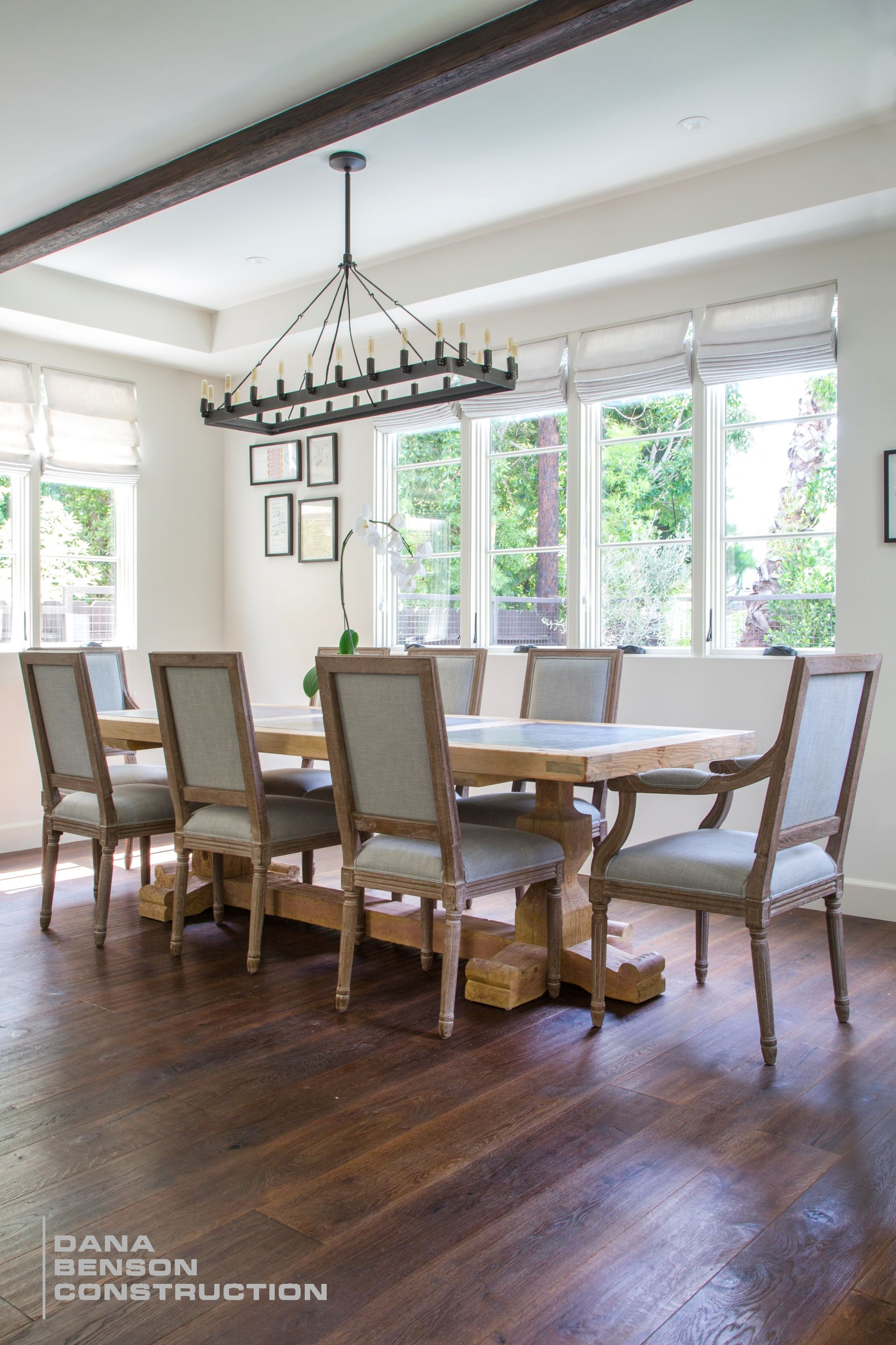 Mediterranean Modern Dining table and steel chandelier