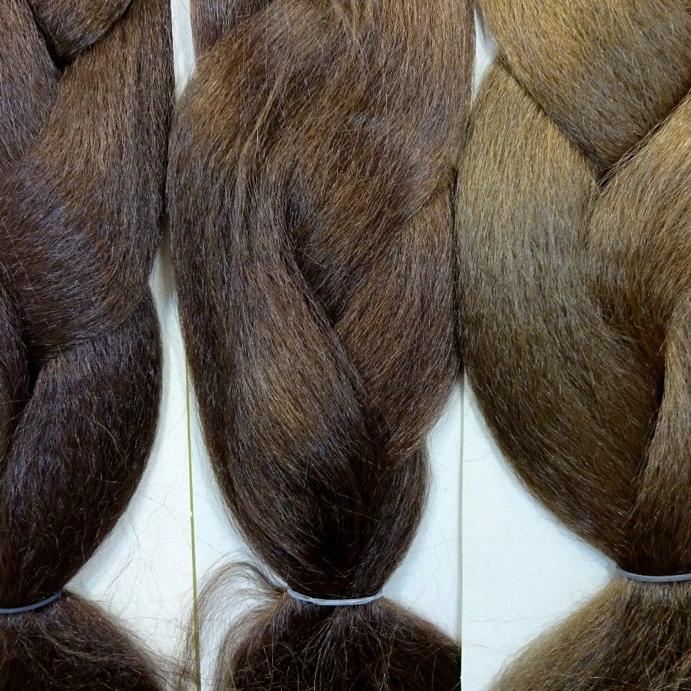 Kanekalon Color Comparison From Left To Right 6 Chestnut Brown