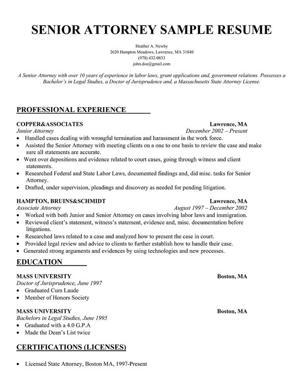 Senior Attorney Resume Resume Samples Across All Industries
