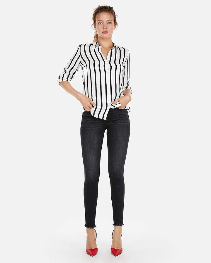 Striped Satin Twill No Pocket City Shirt By Express Black And White