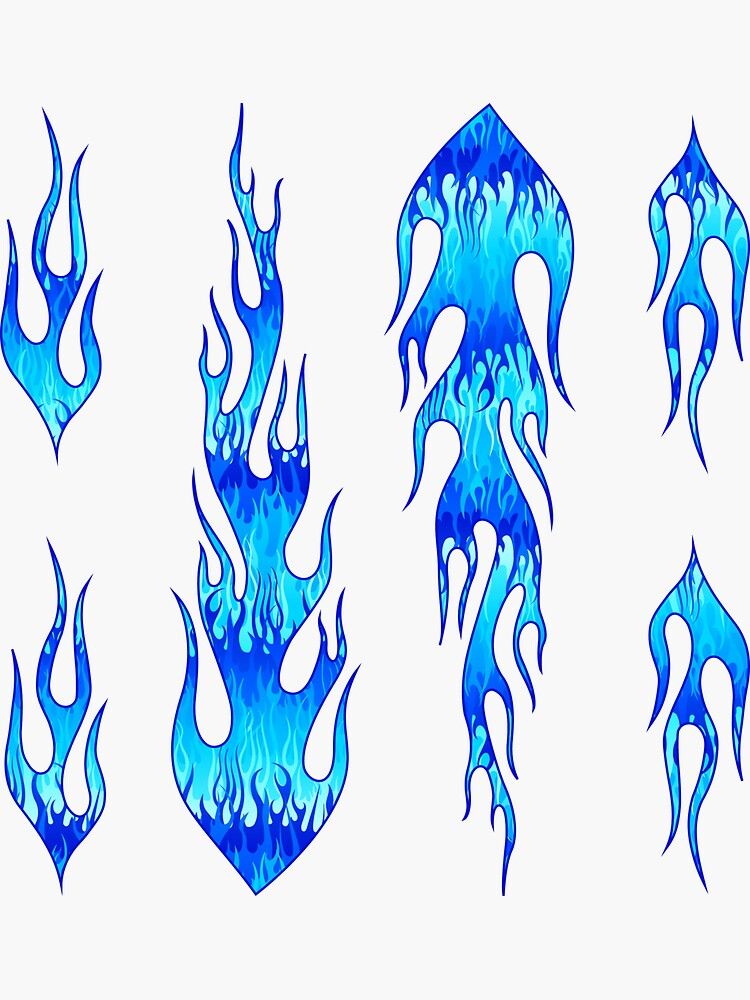 Blue Hot Rod Flames Pattern Sticker By Wickedrefined Nicole Demereckis In 2021 Blue Flame Tattoo Flame Art Cool Art Drawings