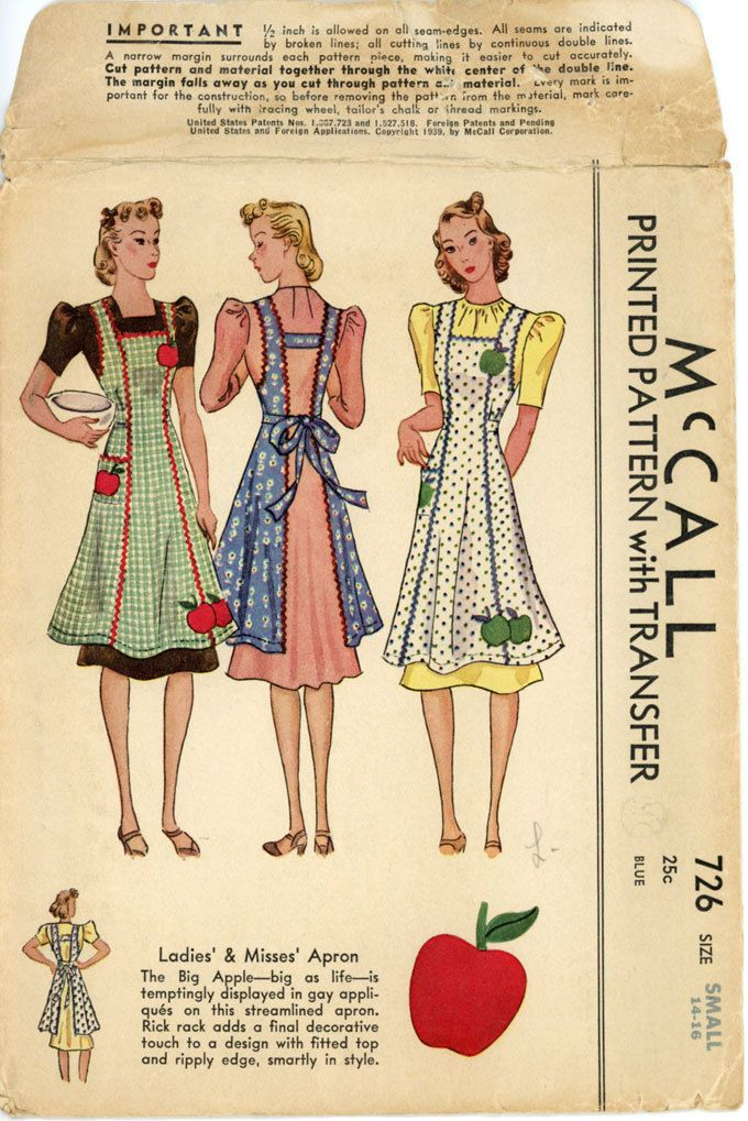 1930s Vintage Apron Pattern McCall 726 Bust 32 to 34 Womens Vintage ...