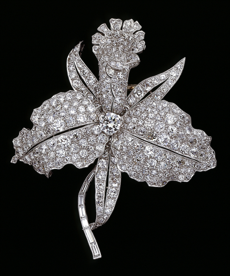 Orchid brooch Designed by Van Cleef & Arpels Paris, France, 1928 Platinum, diamonds Van Cleef & Arpels Collection