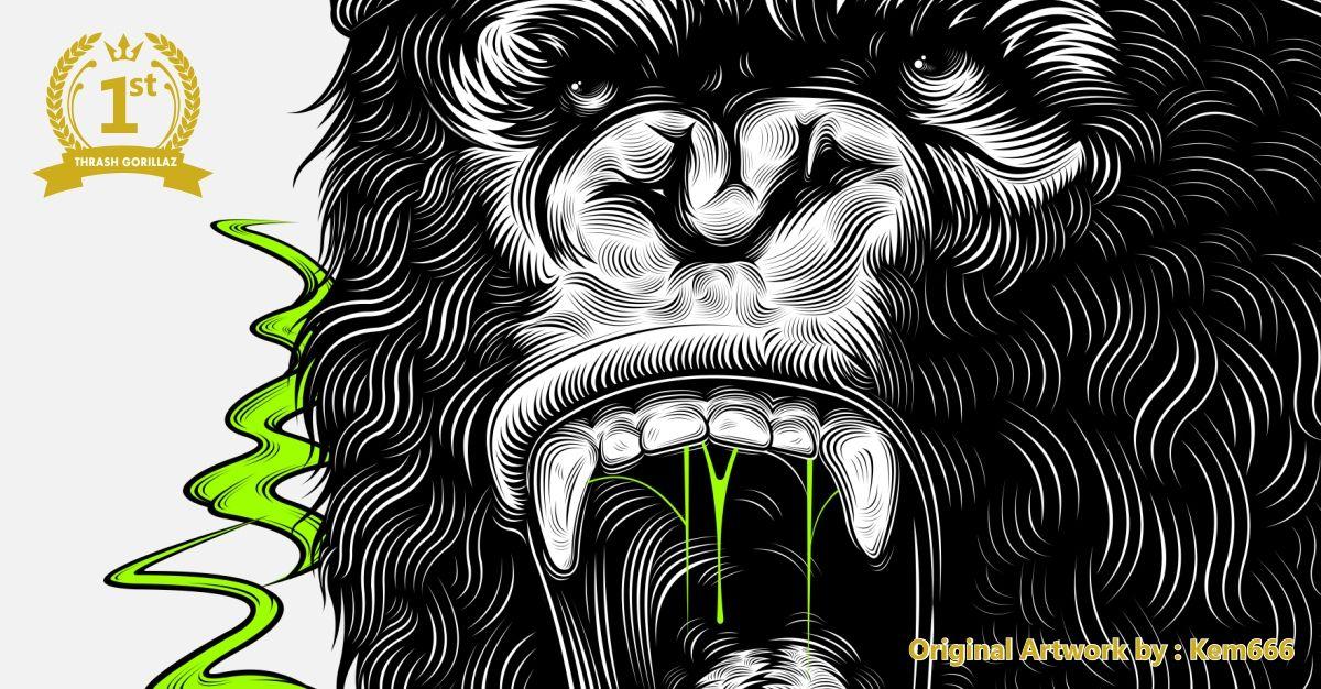 Style Thrash Metal Dipadukan Ke Dalam Desain Illustrasi Hewan Gorila Vectorline Rupawa