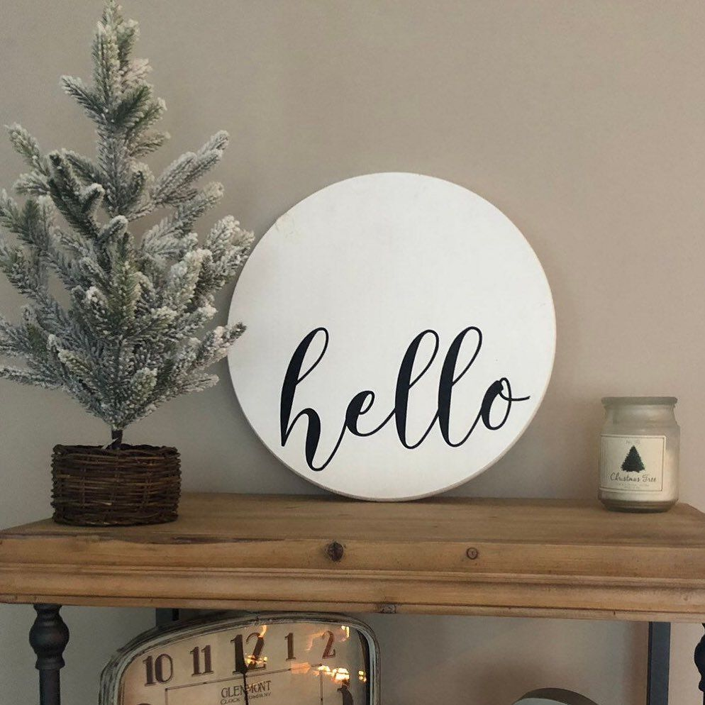 Excited To Share This Item From My Etsy Shop Hello Sign L Decorative Tray L Housewarming Gift L Wooden Tray In 2020 Wooden Door Signs House Warming Gifts Home Decor