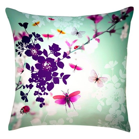 Digitally printed silk butterfly pillow - Pretty colors
