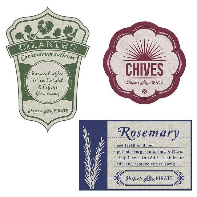 Printable Herb Garden Labels adhere to pasta sauce jar or tin can