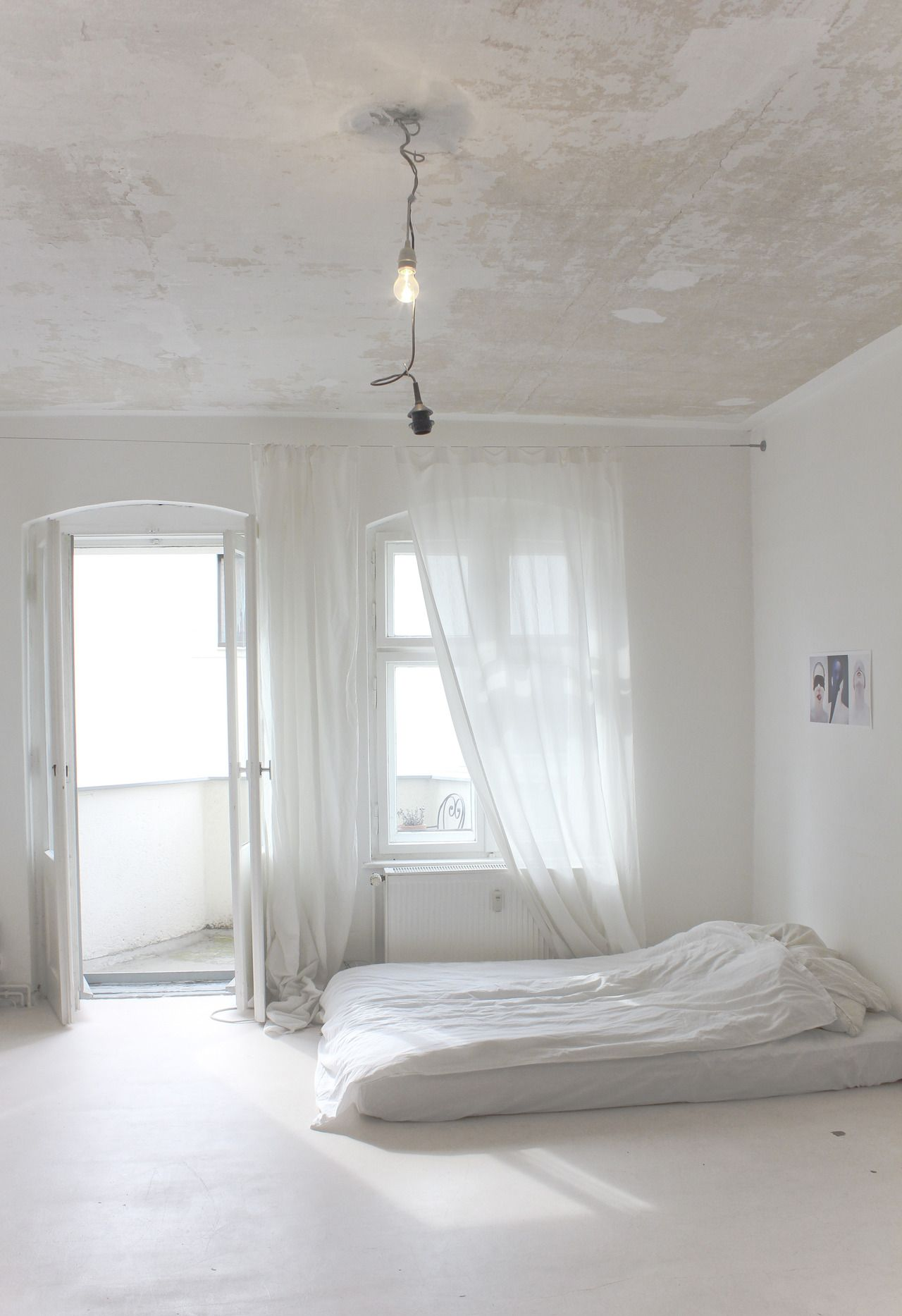 blanc, lumière, futon