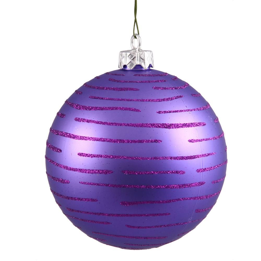 "4.75"" Purple Ball Ornament w/Glitter Asst 2/Bg"