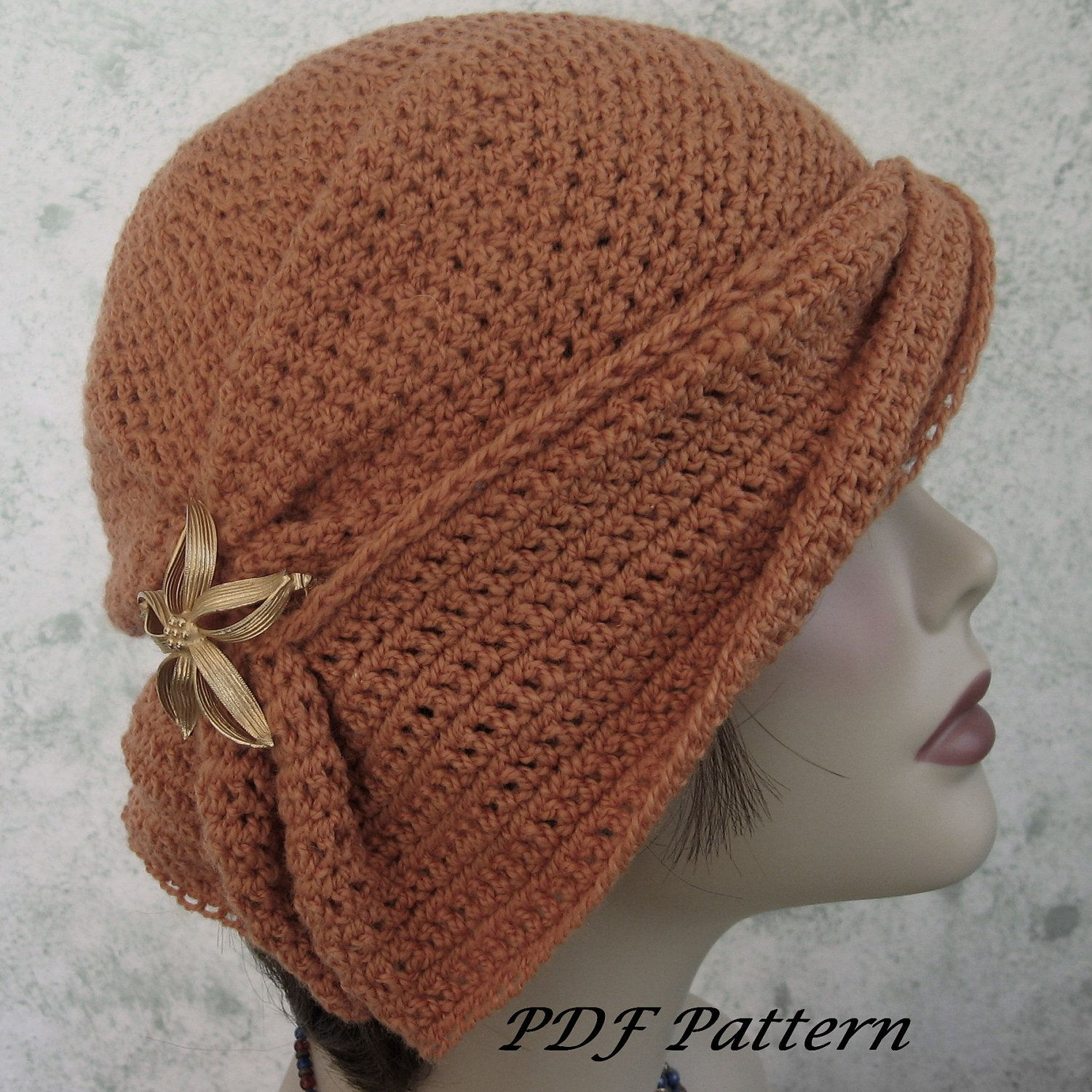 Crochet Hat Pattern Womens Cloche With Side Gathers And Draped Brim ...