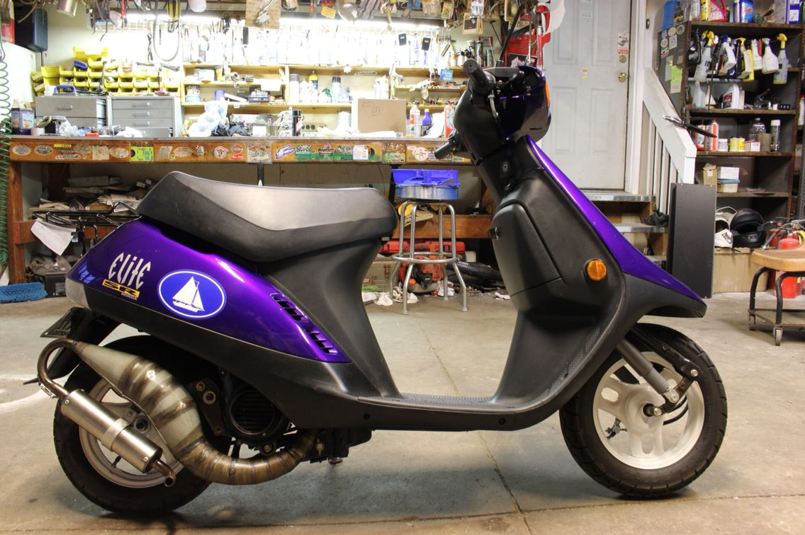 Custom mystic purple Honda Elite SR scooter with af16 MHR cylinder ...