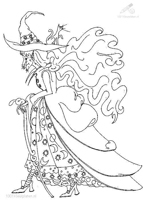 Image detail for -1001 COLORINGPAGES : Fantasy >> Witch >> Witch ...