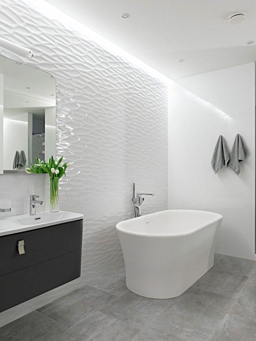 Wall Mounted Tile Porcelain Stoneware Wave Pattern Matte 3d Wall Design Ribbon Whi Patterned Bathroom Tiles Neutral Bathroom Tile Bathroom Shower Walls