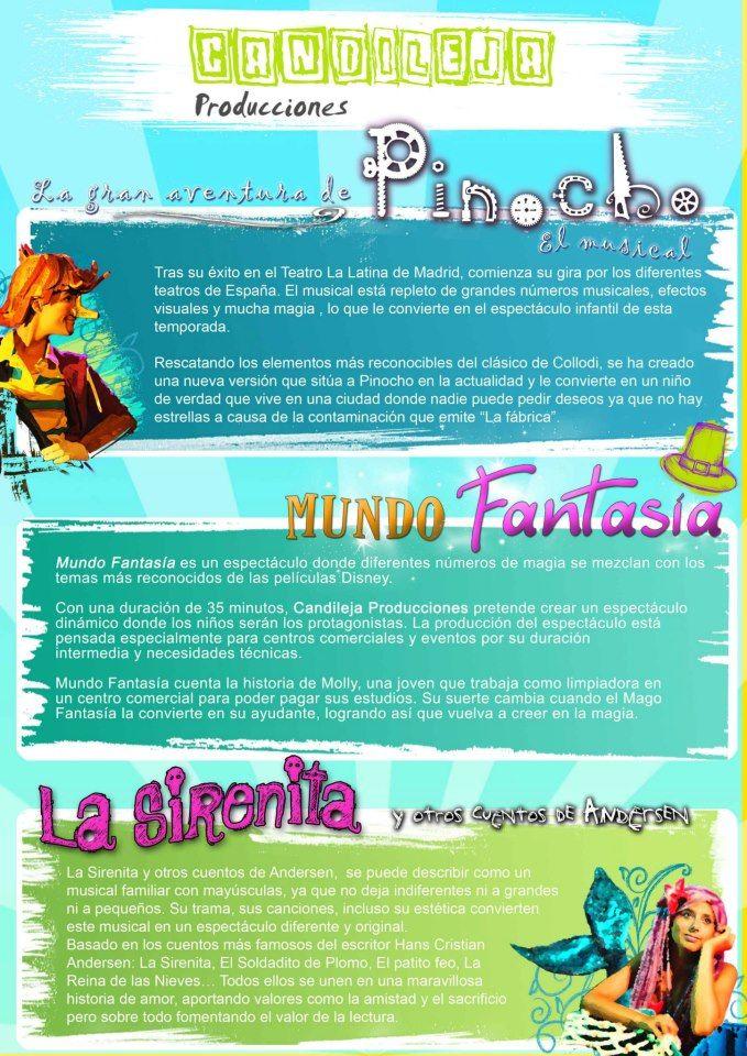 Documento-resumen de los espectáculos infantiles de www.candilejaproducciones.com