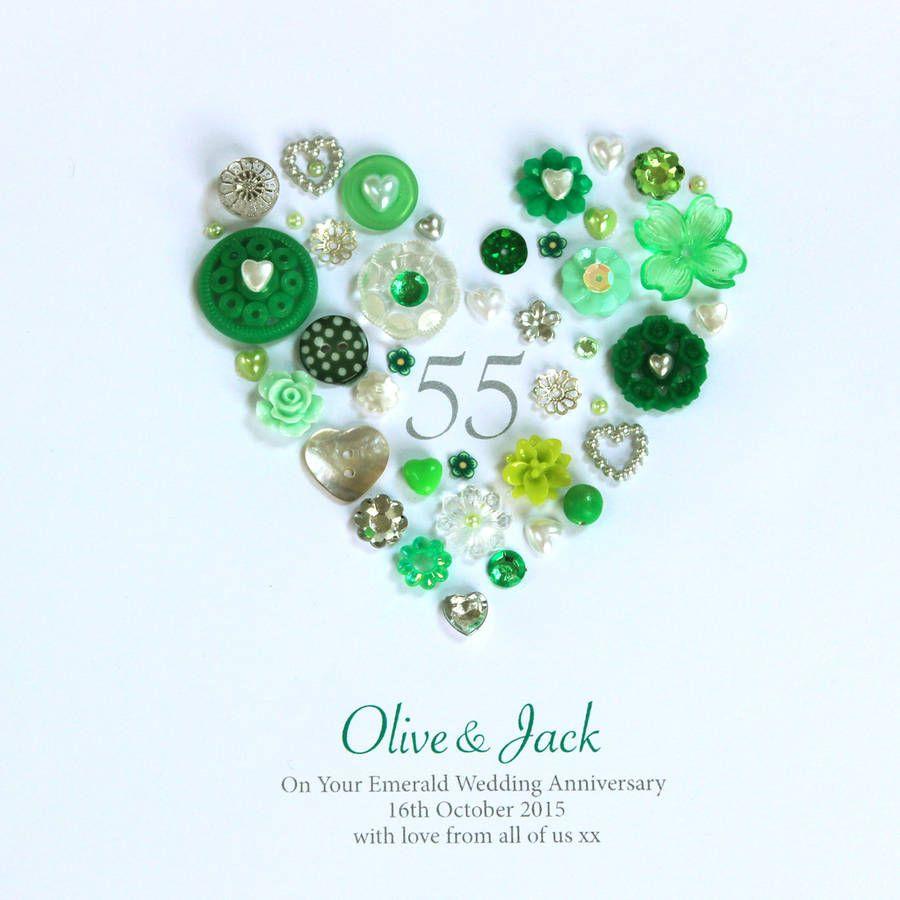 Original Personalised Emerald Wedding Anniversary Button Heart 900x