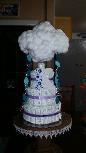 Clouds raindrops themed baby shower diaper cake for baby for Cloud centerpieces