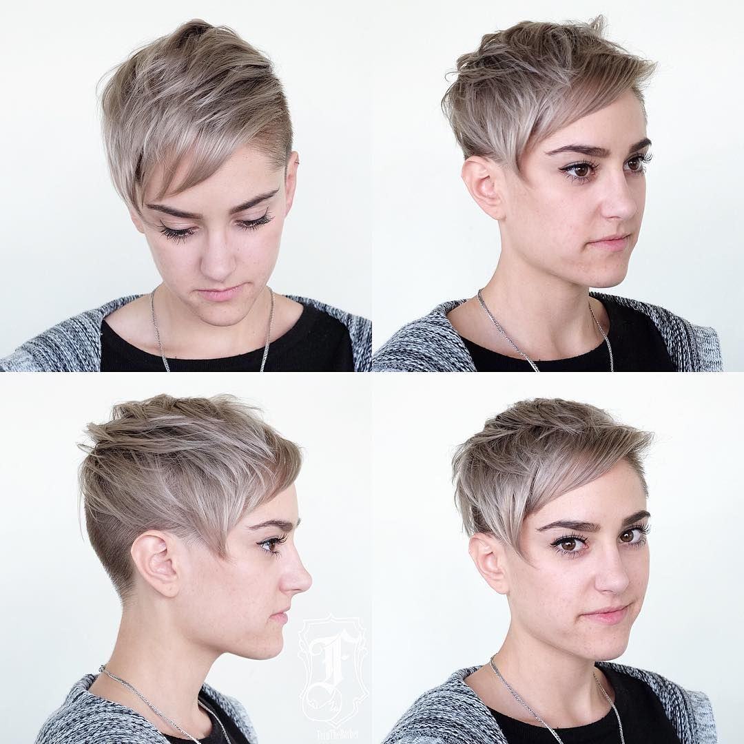 Blonde Undercut Pixie With Messy Texture And Side Swept Bangs The Latest Hairstyles For Men And Women 2020 Hairstyleology Oil Slick Hair Damp Hair Styles Short Hair Styles