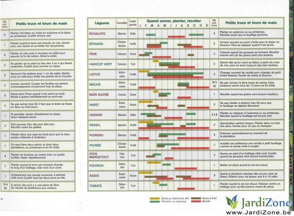 calendrier des plantations au potager belgique recherche