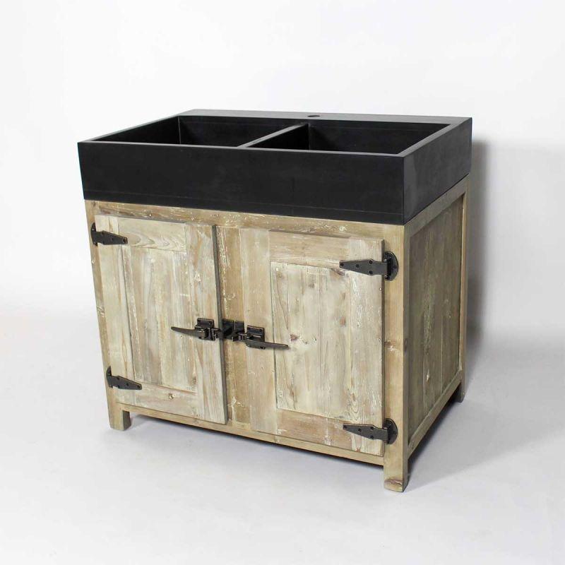 meuble cuisine bois recycl avec vier 2 bacs made in meubles