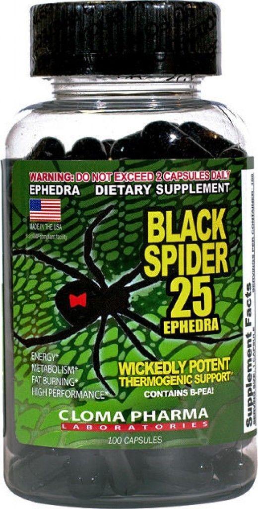 Cloma Pharma Black Spider 25 Ephedra Diet Pills 100