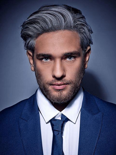 Frisuren Männer Grau Ovales Gesicht Mit Bart Und Koteletten