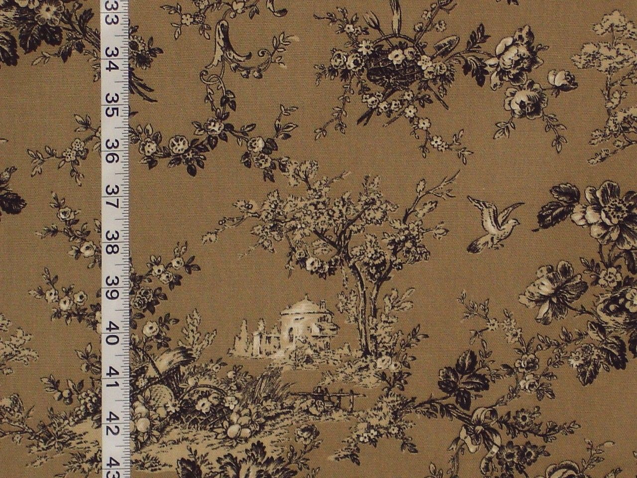 image detail for -brown toile fabric country gardening bird castle