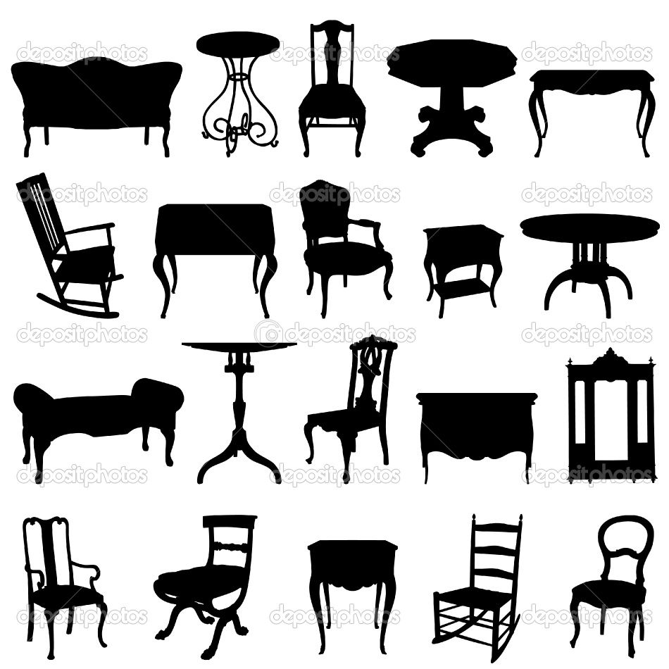 Antique chair silhouette - Antique Furniture