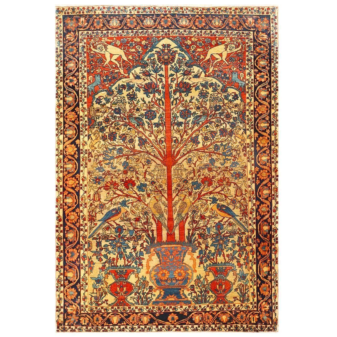 Antique Persian Fine Sarouk Farahan Tree Of Life Rug