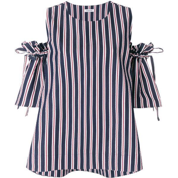 striped cold shoulder blouse - Blue P.A.R.O.S.H. Shop For Original For Sale Supply Online Cheapest Cheap Price Latest Yr13JxZ