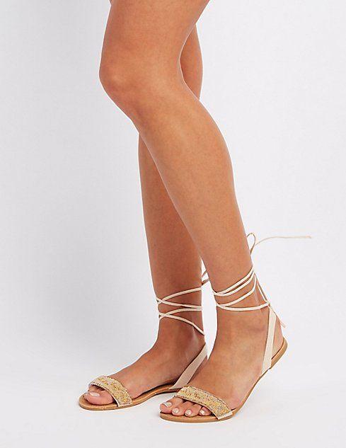 a13cbd76965cbf Beaded Lace-Up Sandals