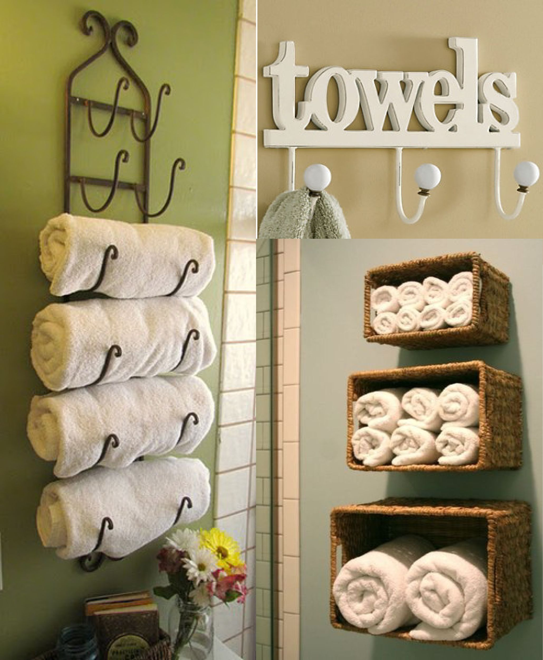 Bathroom Interior Awesome Three Rattan Wall Basket Towel Storage And Antique Custom Towel Bar Inspiring Bathroom Accesories Design Ideas Fancy Towel Storage