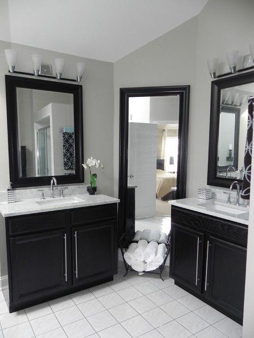 Master Bath Vanity Using Kitchen Cabinet Bases Economical Bathroom  Renovation   The Vanities Were Made More Affou2026 | Kitchen Counter Tops  Butcher Block ...