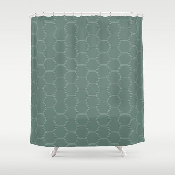 Teal Honeycomb Pattern Shower Curtain Extra Long Shower Curtain