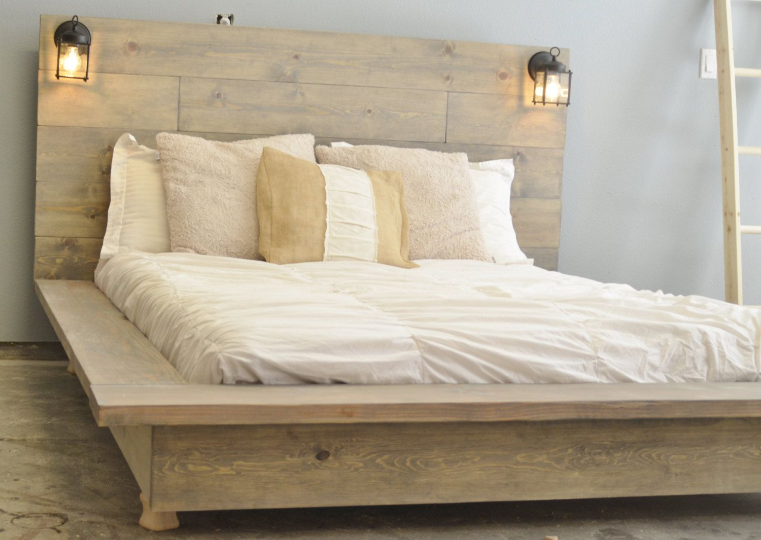Floating Wood Platform Bed Frame With Lighted Headboard Quilmes Wood Platform Bed Build A
